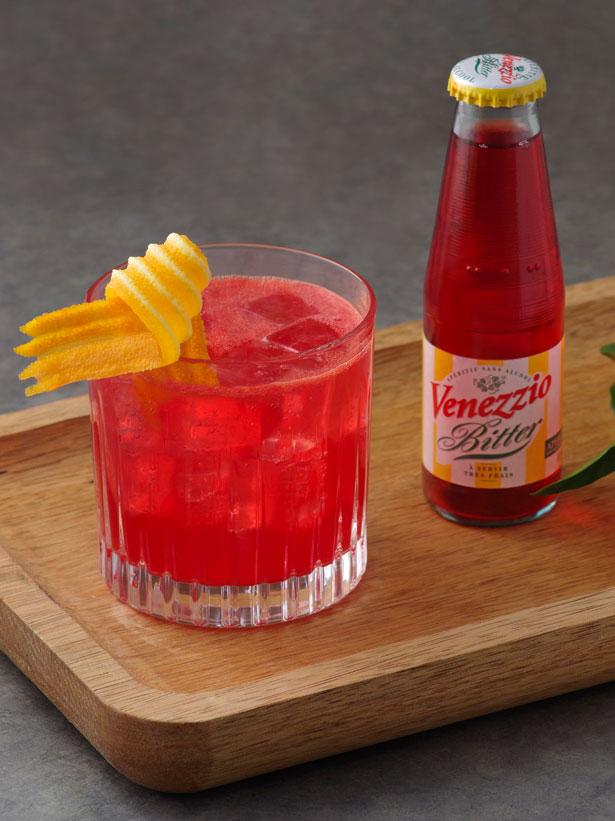 cocktail virgin negroni sans alcool avec bitter venezzio et jus de clémentine