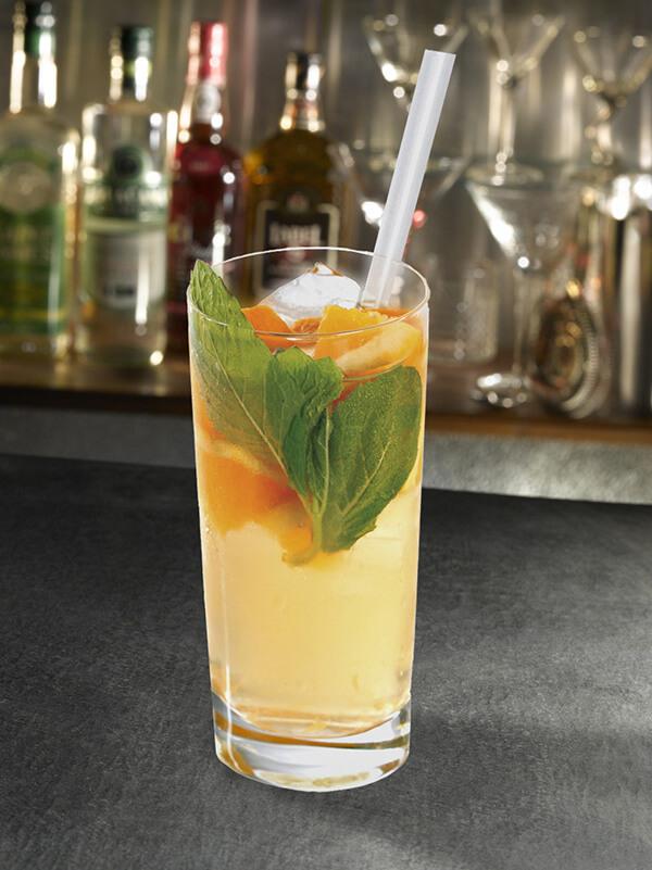 Cocktail real one dans un verre avec de la glace pilée, des feuilles de menthe et des morceaux d'orange