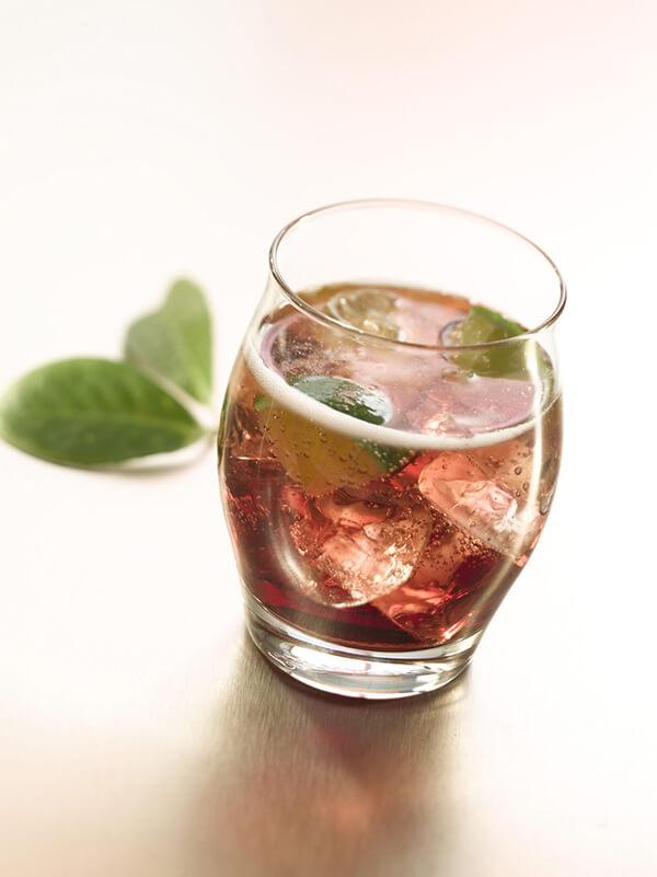 Cocktail baltic secret dans un verre avec des glaçons, feuilles de menthe et du citron vert