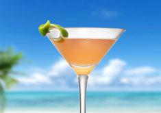 cocktail au rhum, litchi et thé